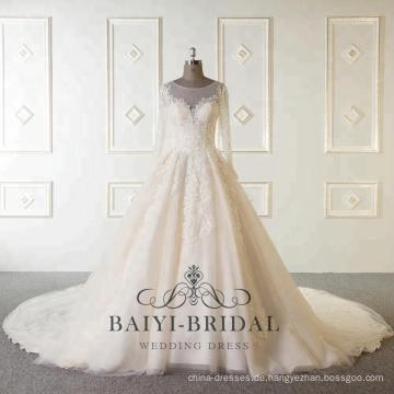 Wholesale neue Ankunft nach Maß Langarm muslimischen Perlen Brautkleider