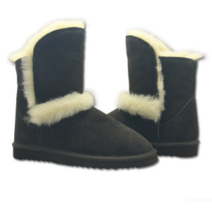Winter snow suede leather wool lining furry boots