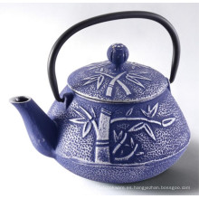 Hermosa tetera de hierro fundido de bambú azul, tetera de hierro fundido para beber