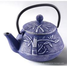 Bule de ferro fundido de bambu azul bonito, chaleira de ferro fundido para beber