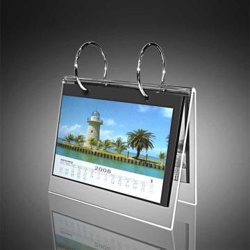 Marco de calendario acrílico de escritorio barato con soporte
