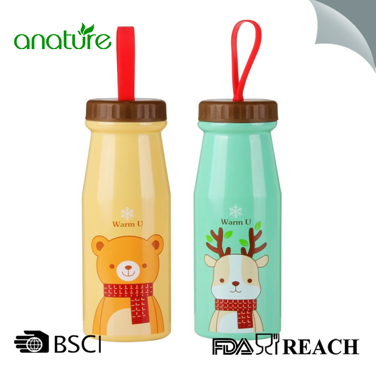Steel Water Bottle Silicone Handle Lid For Kids