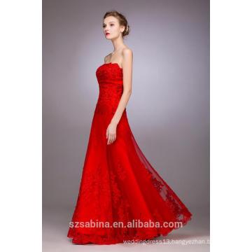 2017 hottest style of red sleeveless floor-length evening dress for women
