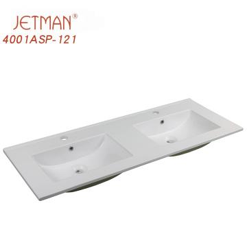 White Porcelain Bathroom Vanity Top Hand Wash Double Vanity Basin