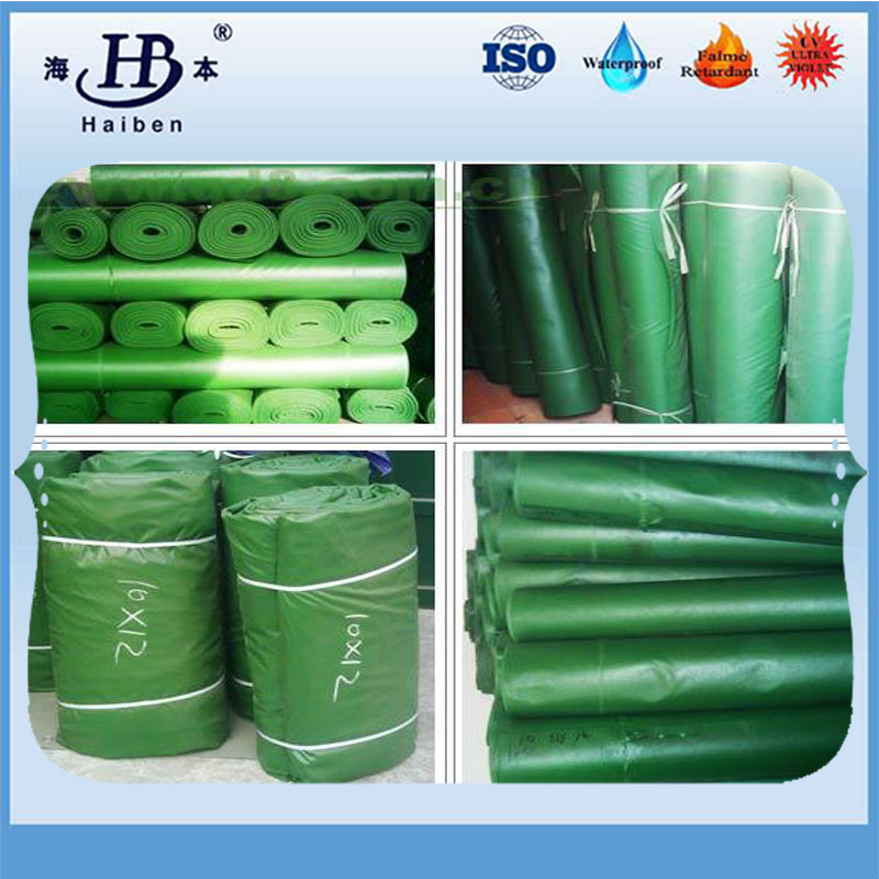 Fire resistant 400g-700g green pvc tarpaulin cover