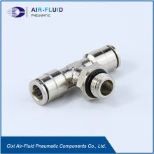 Air-Fluid Metal Pneumatic Push in Fitting Branch Tee