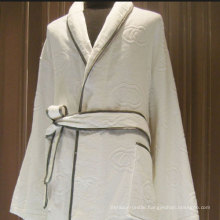Piping White Cotton Jarquard Kimono Hotel Bathrobe (DPFT8071)
