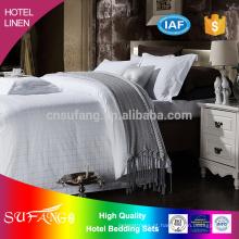 Cama do hotel / fornecedor de China jacquard 300TC algodão weaven luxo branco hotel linho