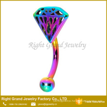 316L Surgical Steel Rainbow Plated Eyebrow Ring Piercing