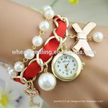 Brilhante cor brilhante moda pérola pulseira relógio de quartzo