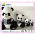 White and Black Plush Stuffed Soft Panda with Dress