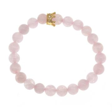 Handmade Rose Quartz Gold Crown Bracelet With 8mm Round Beads Women