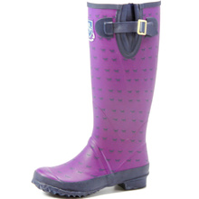 Purple Dog Printing Women Wellington Rubber Rain Boots
