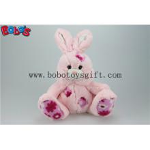 """9.5 """"Softest Pink gefüllte Kaninchen Plüschtier mit Blumen Stoff Patch Bos1145"""