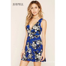 Moda Deep-V Floral Mini Skater Dress