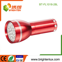 Factory Logo Printed Red Emergency Handheld 28 led Aluminum Small led Torch with 3*AAA Battery