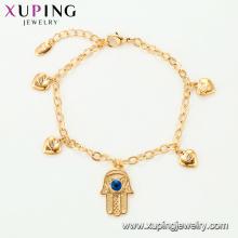 75136 Xuping fantasia mão de ouro pulseira cadeia design para meninas personalizado fio de seda falso jewwlry