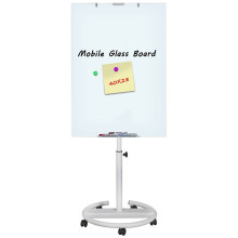 Office mobile tempered magnetic glass flipchart easel board