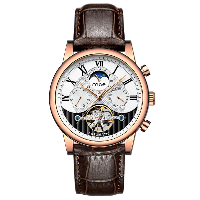 Lyxmäns Moonfase Tourbillon Movt Automatic Watch