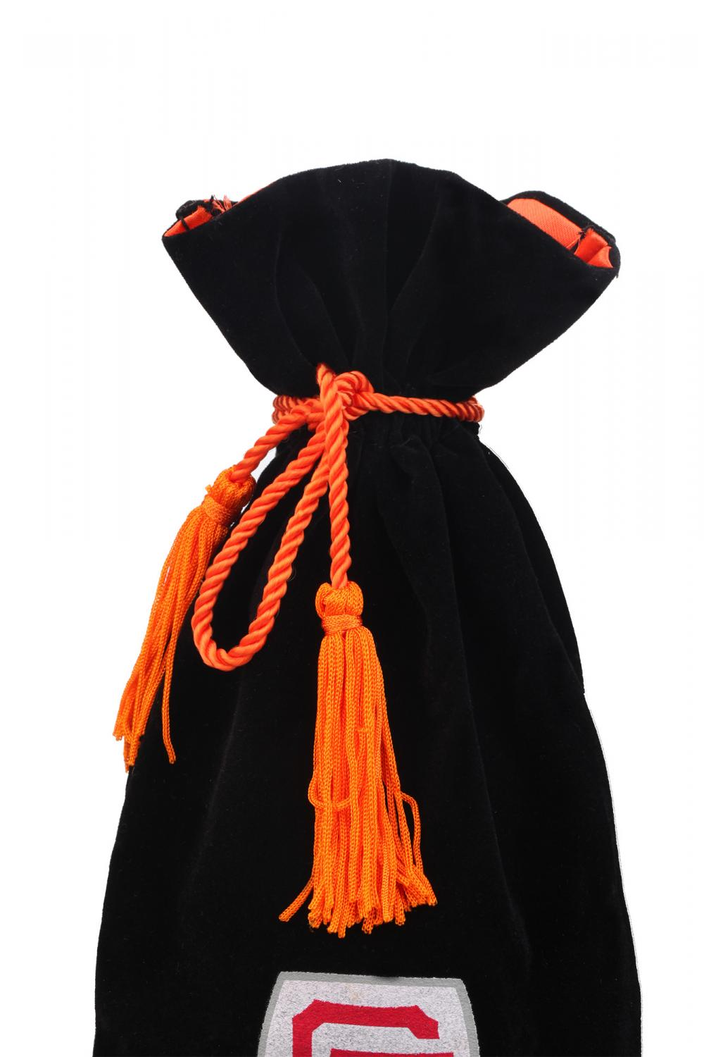 Customized Black velvet wine pouch with tassel
