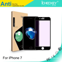 Anti roxo luz de vidro temperado protetor de tela para iPhone7 3D fibra de carbono