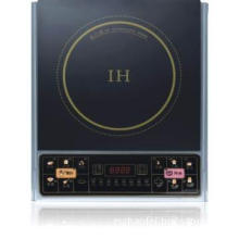 touching induction hob  with black crystal plate