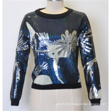 100%Wool Patterned Sequins Pullover Knit Women Sweater