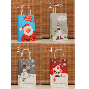Christmas kraft paper bag with handle
