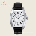 Men′s Stainless Steel Watch with Black Leather Strap 72555