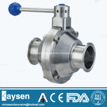 Sanitary butterfly type ball valves clamped end