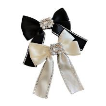 New Fabric Pearl Rhinestone Big Hair Barrettes Bow Knot Fashion Accessories Hairpin Korean Luxury Spring Clip