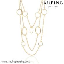 Collier de chaîne multi-couches en or 14k sertie de bijoux fantaisie 43037-Cher