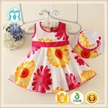 Casual petite fille robes filles robes en coton dessins filles une pièce robe de haute qualité vêtements de bébé en gros