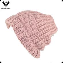 Оптовый акриловый теплый вязаный шлем зимой с манжетой