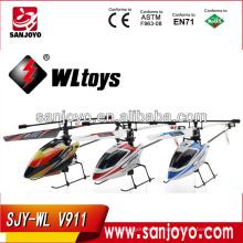 wl toys v911 2.4G 4CH sola cuchilla Gyro RC MINI exterior r / c helicóptero con LCD y 2 baterías v911 helicóptero