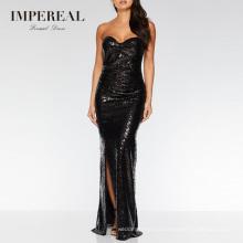 Black Sequin Maxi Sex Prom Long Dinner Strapless Dress For Women