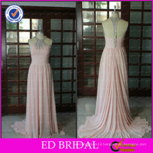 ED Bridal Elegant Chiffon Pink Beaded A-line Halter Long Sleevelss She Fashions Prom Dresses