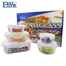 Alto envase de almacenamiento de comida del vidrio de microonda del Borosilicate con la tapa