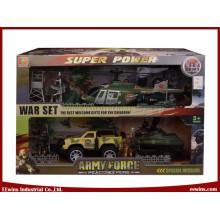 Conjuntos militares de brinquedos DIY com reboque de placa, helicóptero, iate e carro de fricção