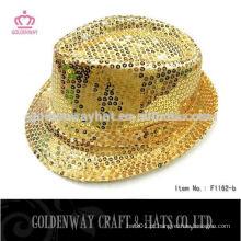 Chapéu de fedora festa de lantejoulas chapéu de fedora de ouro