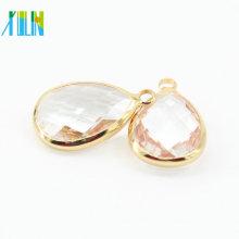 10 * 14 mm 12 unids / bolsa surtido de gota de lágrima rosa cristal de latón colgante de plata de oro facetado conector colgante de cristal