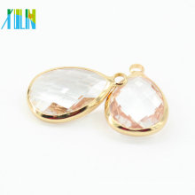 10*14mm 12 pcs/bag Teardrop Drop Assortment Pink Crystal Glass Brass Silver Gold Pendant Faceted Connector Crystal Pendant