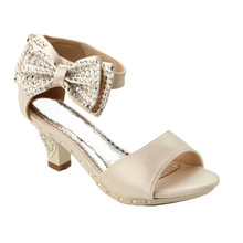 latest fashion kids girl cream high heel shoes for children