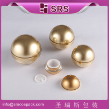 SRS alibaba China Manufacturer acrylic cosmetic cream container , 5g 15g 50g 100g empty golden recycled plastic ball jar