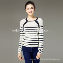 Camisola de algodão Mulheres Rodada Pescoço Pointelle Pullover Jumper OEM & Wholesale