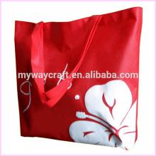 Bolsa reciclável de tecido de flores vermelhas
