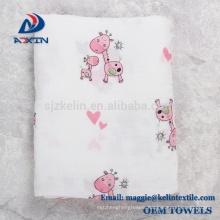 2017 New Design Flower Printing Muslin Swaddle Blanket Bamboo Cotton Baby Swaddle Wrap for Stroller Cover