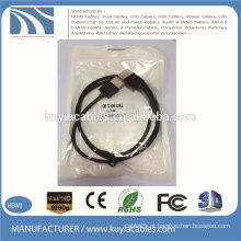 Ouro chapeado cabo de HDMI de 1.4V macho à sustentação masculina 3D 1080P 1M 2M