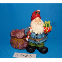 Polyresin Santa with Gifts and Candle Holder