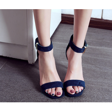 factory wholesale high heel suede leather square peep toe blue sandals